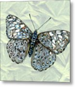 Grey Cracker Butterfly Metal Print