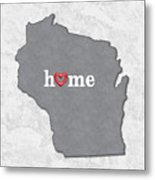 State Map Outline Wisconsin With Heart In Home Metal Print