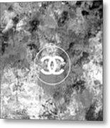 Grey White Black Chanel Logo Print Metal Print