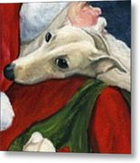 Greyhound And Santa Metal Print by Charlotte Yealey