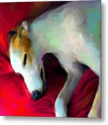 Greyhound Dog Portrait  Metal Print