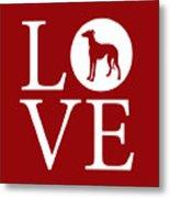 Greyhound Love Red Metal Print