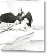 Griffin And Lioness Metal Print