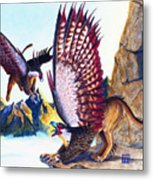 Griffins On Cliff Metal Print