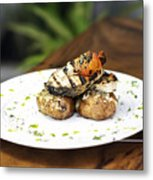 Grilled Fish With Roast Potato Herbs And Garlic Metal Print
