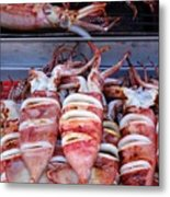 Grilled Squid For Sale Metal Print