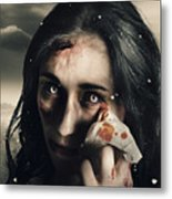 Grim Face Of Horror Crying Tears Of Blood Metal Print