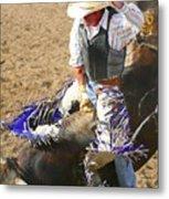 Gripping Bull Rider ... Montana Art Photo  Metal Print