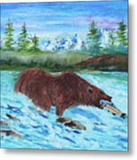 Grizzley Catching Fish In Stream Metal Print