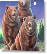 Grizzly Bears In Starry Night Metal Print