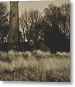 Grosse Point Lighthouse Sepia Metal Print