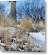 Grosse Point Lighthouse Winter Dunes Metal Print