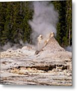 Grotto Geyser Eruption Two Metal Print