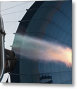 Ground Crew Preparing A Hot Air Balloon Before Takeoff Metal Print