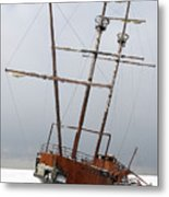 Grounded Ship In Frozen Water Metal Print