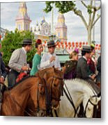 Group Of Couples On Horseback Drinking And Partying At The Sevil Metal Print