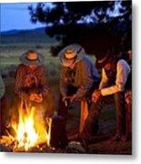 Group Of Cowboys Around A Campfire Metal Print