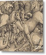 Group Of Seven Horses In Woods Metal Print