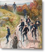 Group Riding Penny Farthing Bicycles Metal Print