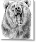 Growling Bear Metal Print