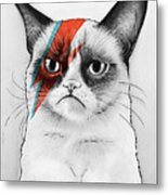 Grumpy Cat As David Bowie Metal Print
