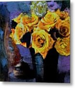 Grunge Friendship Rose Bouquet With Candle By Lisa Kaiser Metal Print