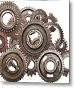 Grunge Gear Cog Wheels Mechanism Isolated On White Metal Print