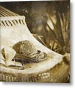 Grunge Photo Of Hammock And Book Metal Print