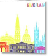 Guadalajara Mx Skyline Pop Metal Print