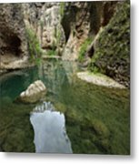 Guadalevin River At El Tajo Gorge From The Bottom Of The Secret  Metal Print
