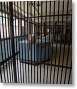 Guard Desk Inside Prison Cellblock Metal Print