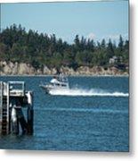 Guemes Island And Fishing Boat Metal Print