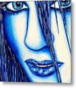 Guess U Like Me In Blue Metal Print by Joseph Lawrence Vasile