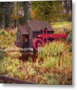 Guildhall Grist Mill In Fall Metal Print