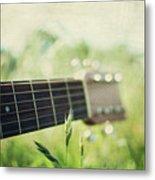 Guitar In Country Meadow Metal Print