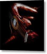 Guitar Woman Metal Print