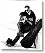 Guitarist Playing On The Street. Drawing Illustration Metal Print