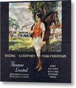 Gulf Coast - Illinois Central - Vintage Poster Folded Metal Print