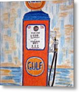 Gulf Gas Pump Metal Print
