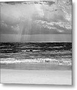 Gulf Of Mexico In Black And White Metal Print