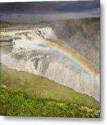 Gulfoss Waterfalls Metal Print