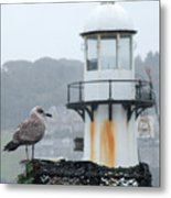 Gull And Lighthouse Metal Print