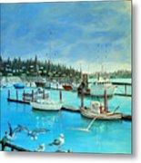 Gulls at Newport Harbor Metal Print