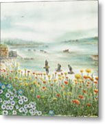 Gulls Over Flowers At The Bay Metal Print