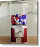 Gumball Red White And Blue Metal Print