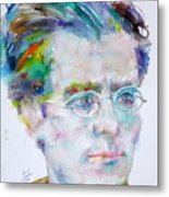 Gustav Mahler - Watercolor Portrait.3 Metal Print