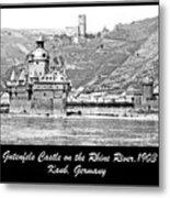 Gutenfels Castle On The Rhine, Kaub, Germany, 1903, Vintage Phot Metal Print