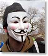Guy Fawkes Mask At Political Demonstration Metal Print