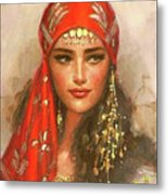 Gypsy Girl Portrait Metal Print