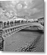 Ha' Penny Bridge In Black And White Metal Print